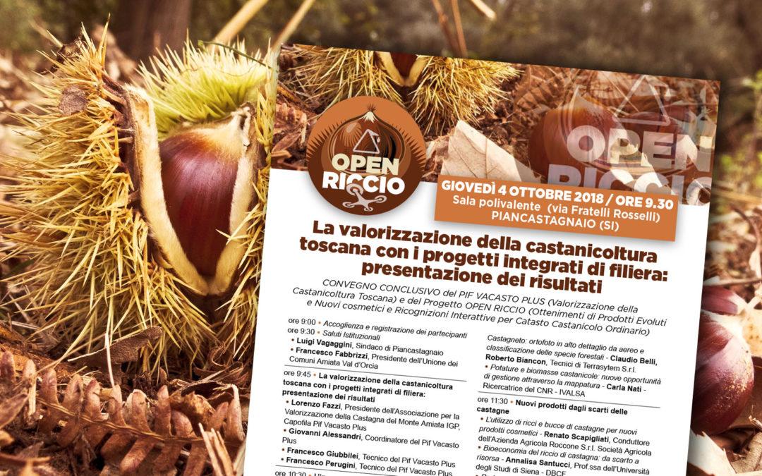 4 ottobre 2018, Piancastagnaio. La valorizzazione della castanicoltura toscana con i progetti integrati di filiera: presentazione dei risultati